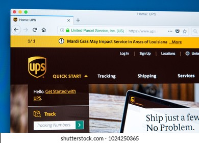 LONDON, UK - FEBRUARY 10TH 2018: The homepage of the official website for United Parcel Service, also known as UPS - the American package delivery company, on 10th February 2018.