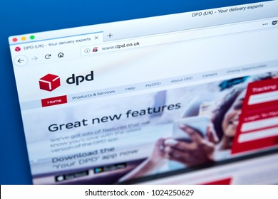 LONDON, UK - FEBRUARY 10TH 2018: The homepage of the official website for DPD, also known as Dynamic Parcel Distribution - the international parcel delivery company, on 10th February 2018.
