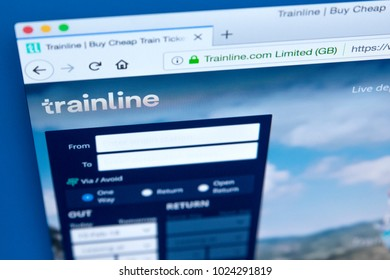 LONDON, UK - FEBRUARY 10TH 2018: The homepage of the official website for the Trainline - the online rail ticketing platform, on 10th February 2018.