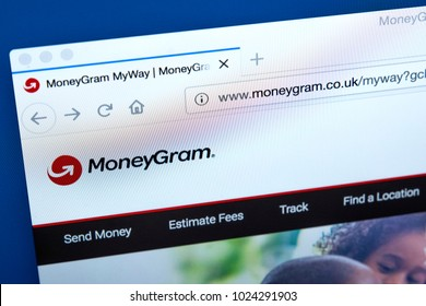 LONDON, UK - FEBRUARY 10TH 2018: The homepage of the official website for MoneyGram - the money transfer company based in the USA, on 10th February 2018.