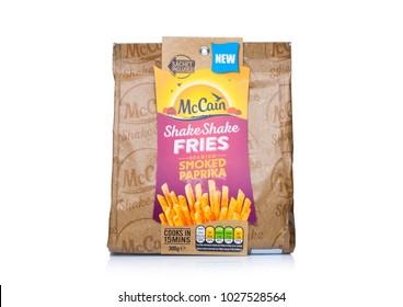 LONDON, UK - FEBRUARY 14, 2018: Pack of McCain Shake Shake Fries with sea salt and paprika on white background.