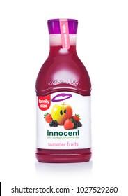 LONDON, UK - FEBRUARY 14, 2018: Plastic bottle of Innocent summer fruits juice on white background.Family size