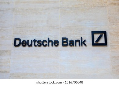 London, UK - February 15th 2019: The Deutche Bank logo on the exterior of a building in London, UK. Deutsche Bank are a German bank and financial services company operational in 58 countries.