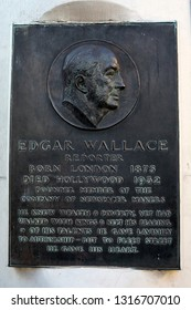London, UK - February 15th 2019: A plaque dedicated to reporter Edgard Wallace, located at Ludgate Circus, in the City of London, UK.