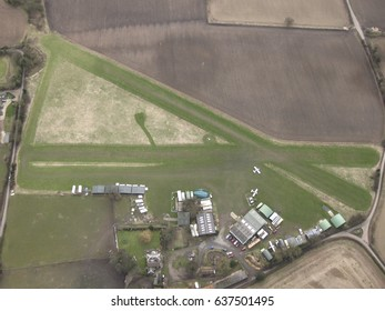 LONDON, UK- FEBRUARY 16, 2013: Rural air field in southern England, a base for hobby light aircraft.