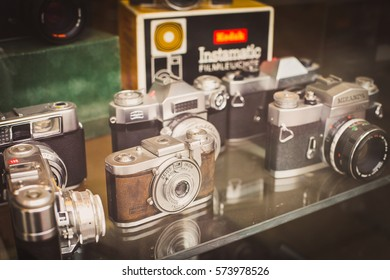 London, UK - February 16, 2015: Vintage cameras on the shop window in Camden Town