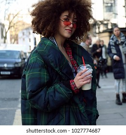 LONDON, UK- February 16 2018: Woman on the street during the London Fashion Week
