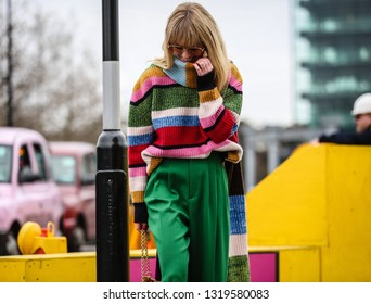 LONDON, UK- February 16 2019: Jeanette Friis Madsen on the street during the London Fashion Week.