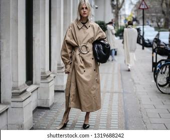 LONDON, UK- February 16 2019: Linda Tol on the street during the London Fashion Week.