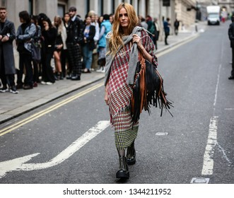 LONDON, UK- February 16 2019: Blanca Miro' Scrimieri on the street during the London Fashion Week.
