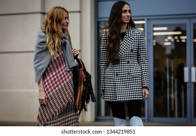 LONDON, UK- February 16 2019: Blanca Miro' Scrimieri and Erika Boldrin on the street during the London Fashion Week.