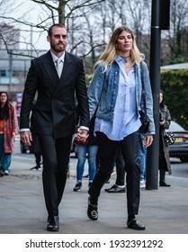 LONDON, UK- February 16 2019: Justin O'Shea and Veronika Heilbrunner on the street in London.