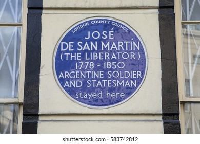 LONDON, UK - FEBRUARY 16TH 2017: A blue plaque on Park Road in London, marking the location where Argentine soldier and Statesman Jose De San Martin once stayed, taken in London on 16th February 2017.