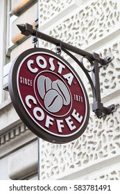 LONDON, UK - FEBRUARY 16TH 2017: A sign for a Costa Coffee outlet in central London, on 16th February 2017.