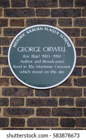 LONDON, UK - FEBRUARY 16TH 2017: A plaque marking the location where famous author George Orwell once lived during his life, taken on 16th February 2017.