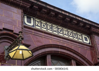 LONDON, UK - FEBRUARY 16TH 2017: The traditional tiled exterior of the London Underground station at Kilburn Park, in London on 16th February 2017.  .