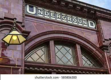 LONDON, UK - FEBRUARY 16TH 2017: The traditional tiled exterior of the London Underground station at Kilburn Park, in London on 16th February 2017.