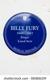 LONDON, UK - FEBRUARY 16TH 2017: A blue plaque outside a house in Cavendish Avenue in London, on 16th February 2017, where iconic British pop star Billy Fury lived.