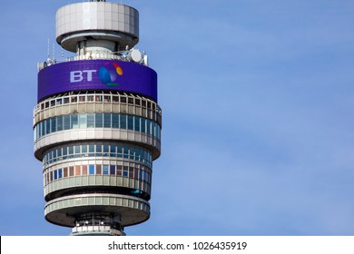 LONDON, UK - FEBRUARY 16TH 2018: A close-up view of the historic BT Tower in London, UK, on 16th February 2018.