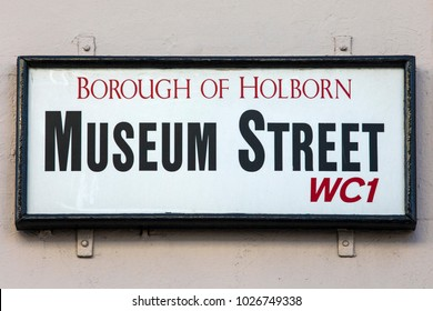 LONDON, UK - FEBRUARY 16TH 2018: A street sign for Museum Street in the Bloomsbury area of London, on 16th February 2018.