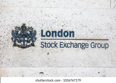 LONDON, UK - FEBRUARY 16TH 2018: The sign at the entrance to the London Stock Exchange located on Paternoster Square in London, on 16th February 2018.