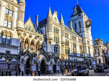 London, UK, February 17, 2015: Royal Courts of Justice in the Victorian Gothic style on Fleet Street in London.