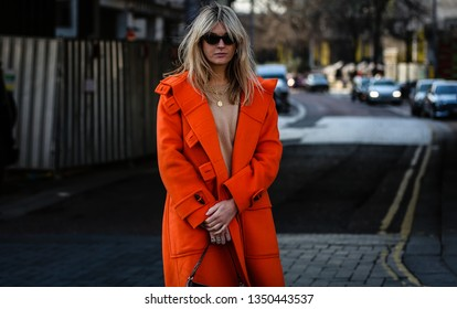 LONDON, UK- February 17 2019: Camilla Charriere  on the street during the London Fashion Week.