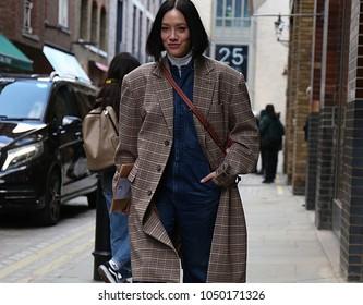 LONDON, UK- February 18 2018: Tiffany Hsu on the street during the London Fashion Week