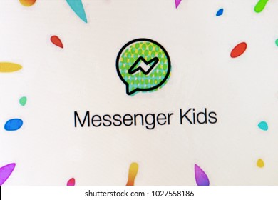 LONDON, UK - FEBRUARY 18th 2018: Facebook messenger kids logo on a computer screen. Facebook messenger kids is a social media chat app designed for children.