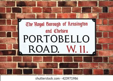 London, UK, February, 19 2012 - Portobello Road sign in the street market at Notting Hill, Kensington