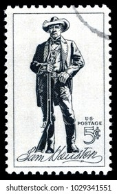 London, UK, February 19 2018 - Vintage 1964 United States of America cancelled postage stamp  showing a lithograph of Sam Houston