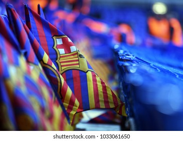 LONDON, UK - FEBRUARY 20, 2018: Barcelona flags pictured prior to the UEFA Champions League last 16 round match between Chelsea FC and FC Barcelona at Stamford Bridge.