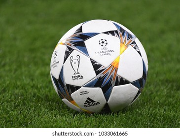 LONDON, UK - FEBRUARY 20, 2018: Official ball of the 2018 UCL Kyiv Final pictured prior to the UEFA Champions League last 16 round match between Chelsea FC and FC Barcelona at Stamford Bridge.