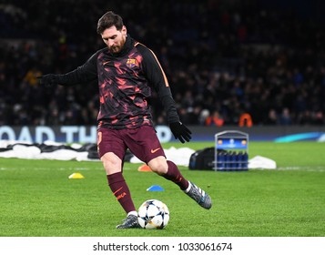 LONDON, UK - FEBRUARY 20, 2018: Lionel Messi pictured prior to the first leg of the UEFA Champions League last 16 round match between Chelsea FC and FC Barcelona at Stamford Bridge.