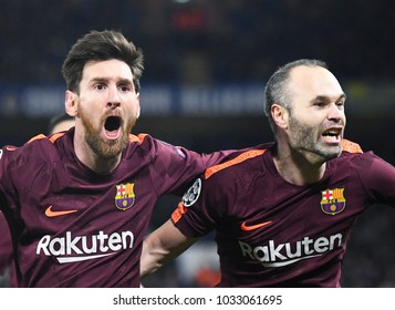 LONDON, UK - FEBRUARY 20, 2018: Lionel Messi pictured during the first leg of the UEFA Champions League last 16 round match between Chelsea FC and FC Barcelona at Stamford Bridge.