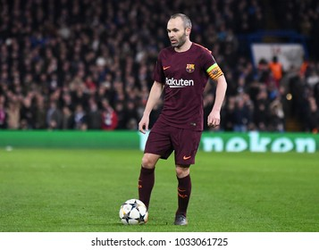 LONDON, UK - FEBRUARY 20, 2018: Andres Iniesta pictured during the first leg of the UEFA Champions League last 16 round match between Chelsea FC and FC Barcelona at Stamford Bridge.