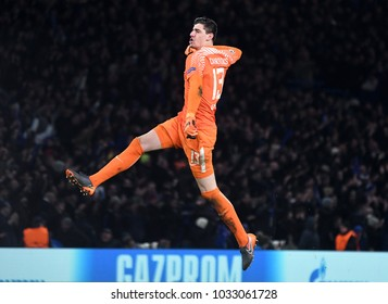 LONDON, UK - FEBRUARY 20, 2018: Thibaut Courtois pictured during the first leg of the UEFA Champions League last 16 round match between Chelsea FC and FC Barcelona at Stamford Bridge.