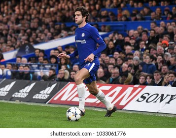 LONDON, UK - FEBRUARY 20, 2018: Marcos Alonso pictured during the first leg of the UEFA Champions League last 16 round match between Chelsea FC and FC Barcelona at Stamford Bridge.