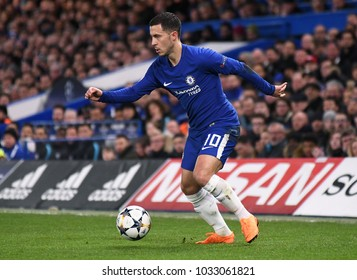 LONDON, UK - FEBRUARY 20, 2018: Eden Hazard pictured during the first leg of the UEFA Champions League last 16 round match between Chelsea FC and FC Barcelona at Stamford Bridge.