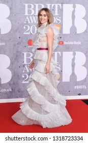LONDON, UK. February 20, 2019: Suki Waterhouse arriving for the BRIT Awards 2019 at the O2 Arena, London.