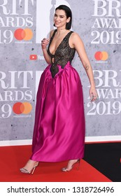 LONDON, UK. February 20, 2019: Dua Lipa arriving for the BRIT Awards 2019 at the O2 Arena, London.