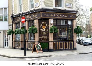 London, UK - February 20 2021: The Royal Oak bar and inn, Belgravia, London
