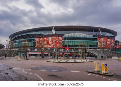 LONDON - UK, FEBRUARY 2017: Arsenal Emirates Stadium with a capacity of over 60,000, it is the third largest football stadium in England after Wembley and Old Trafford. Islington, London UK.