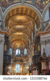 LONDON, UK, FEBRUARY 2017: Inside St Paul's Cathedral in London, interior building details. It is an Anglican cathedral, the seat of the Bishop of London and the mother church of the Diocese of London