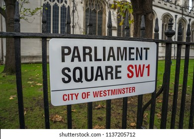 London, UK - February 2018: Parliament Square street sign, City of Westminster, London SW1