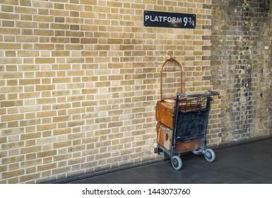 London, UK - February 2019: Harry Potter Platform 9 3/4 photo op at Kings Cross St Pancras station