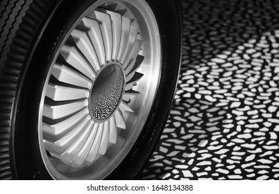 London UK. February 2020. Close up of wheel of Firebird I made by General Motors, car exhibited at the V&A exhibition entitled Cars: Accelerating the Modern World.