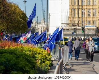 LONDON, UK - February 21, 2019: Brexit demonstrators, flags and placards at Westminster, for and against the various scenarios.