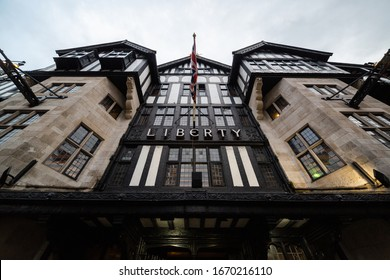 LONDON, UK - FEBRUARY 22, 2020: Closeup view of exterior of Liberty shopping mall, one of the oldest department stores in the city.