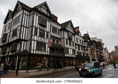 LONDON, UK - FEBRUARY 22, 2020: Exterior of Liberty shopping mall, one of the oldest department stores in the city.